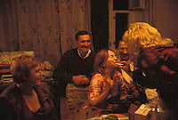 RUSSIA - JAN 03:  A family enjoys a meal and get together in Kaliningrad, Russia in January of 2003. (Photo by Landon Nordeman).