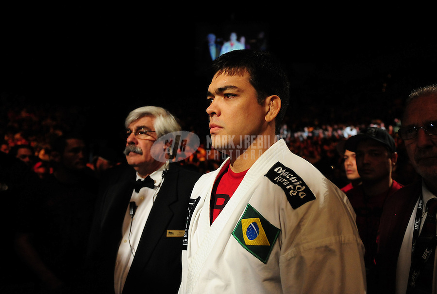 Jan. 31, 2009; Las Vegas, NV, USA; UFC fighter Lyoto Machida prior to his fight against Thiago Silva during the light heavyweight bout in UFC 94 at the MGM Grand Hotel and Casino. Mandatory Credit: Mark J. Rebilas-