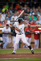 Dayton Dragons first baseman Avain Rachal (20) at bat during a game against the Cedar Rapids Kernels on May 10, 2017 at Fifth Third Field in Dayton, Ohio.  Cedar Rapids defeated Dayton 6-5 in ten innings.  (Mike Janes/Four Seam Images)
