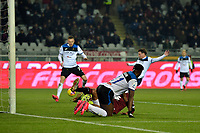 25th January 2020; Olympic Grande Torino Stadium, Turin, Piedmont, Italy; Serie A Football, Torino versus Atalanta; Josip Ilicic of Atalanta (behind) scores the goal for 0-1 to Atalanta in the 17th minute into the empty goal after Duvan Zapata of Atalanta has hit the post with his shot moments before