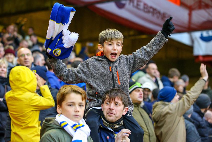 Leeds United fans react to the victory<br /> <br /> Photographer Alex Dodd/CameraSport<br /> <br /> The EFL Sky Bet Championship - Sheffield United v Leeds United - Saturday 1st December 2018 - Bramall Lane - Sheffield<br /> <br /> World Copyright © 2018 CameraSport. All rights reserved. 43 Linden Ave. Countesthorpe. Leicester. England. LE8 5PG - Tel: +44 (0) 116 277 4147 - admin@camerasport.com - www.camerasport.com