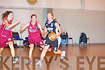 Tralee Imperials Lynn Jones and NUIG's Lauren Murray in action at the Mounkhawk Gym on Saturday.