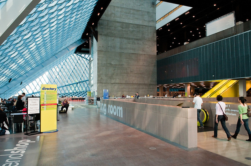 Downtown Seattle Public Library building interior photo with partial view of escalators. The building architect was Rem Koolhas. Photograph by Robert Wade.