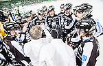 Stockholm 2015-03-14 Bandy SM-final herrar Sandvikens AIK - V&auml;ster&aring;s SK :  <br /> Sandvikens spelare , tr&auml;nare Stefan S&ouml;derholm och tr&auml;nare Anders Jakobsson under en timeout under matchen mellan Sandvikens AIK och V&auml;ster&aring;s SK <br /> (Foto: Kenta J&ouml;nsson) Nyckelord:  SM SM-final final Bandyfinal Bandyfinalen herr herrar VSK V&auml;ster&aring;s SAIK Sandviken tr&auml;nare manager coach timeout depp besviken besvikelse sorg ledsen deppig nedst&auml;md uppgiven sad disappointment disappointed dejected