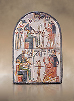 "Ancient Egyptian Ra stele , limestone, New Kingdom, 19th Dynasty, (1279-1190 BC), Deir el-Medina,  Egyptian Museum, Turin. <br /> <br /> Akh iqer en Ra "" the excellent spirit of Ra' stele. One of three stele forund in different rooms of houses in Deir el-Medina where they stood in niches"
