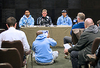 Wednesday 12 November 2014<br /> Pictured: <br /> Re: Vodafone Flying Fijians captain Akapusi Qera, (Left) coach John McKee, (Centre) and Josh Matavesi (Right) during a press conference at the Park Plaza Hotel, Cardiff ahead of the match against Wales on Saturday 15th November