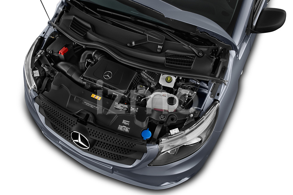 Car stock 2019 Mercedes Benz Metris Base 5 Door Combi engine high angle detail view