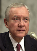former United States Senator Orrin Hatch (Republican of Utah) listens as Robert S. Mueller, III testifies before the United States Senate Committee on the Judiciary to be confirmed as the Director of the Federal Bureau of Investigation (FBI) on Capitol Hill in Washington, DC on July 30, 2001. If confirmed, Mueller will succeed Louis J. Freeh.<br /> Credit: Ron Sachs / CNP