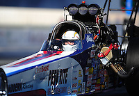 Nov 11, 2010; Pomona, CA, USA; NHRA top alcohol dragster driver Chris Demke during qualifying for the Auto Club Finals at Auto Club Raceway at Pomona. Mandatory Credit: Mark J. Rebilas-