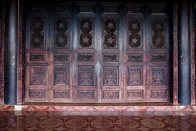 Wooden door at Linh An Tu Pagoda, near Dalat, Vietnam. April 19, 2016.