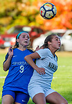 BURLINGTON ,  CT-101519JS16-  Newington's Cassidy Gilchrest (9) tries to hold off Lewis Mills' Caitlin Angers (9) while going to head the ball during their game Tuesday at Nassahegan Field in Burlington. <br /> Jim Shannon Republican-American