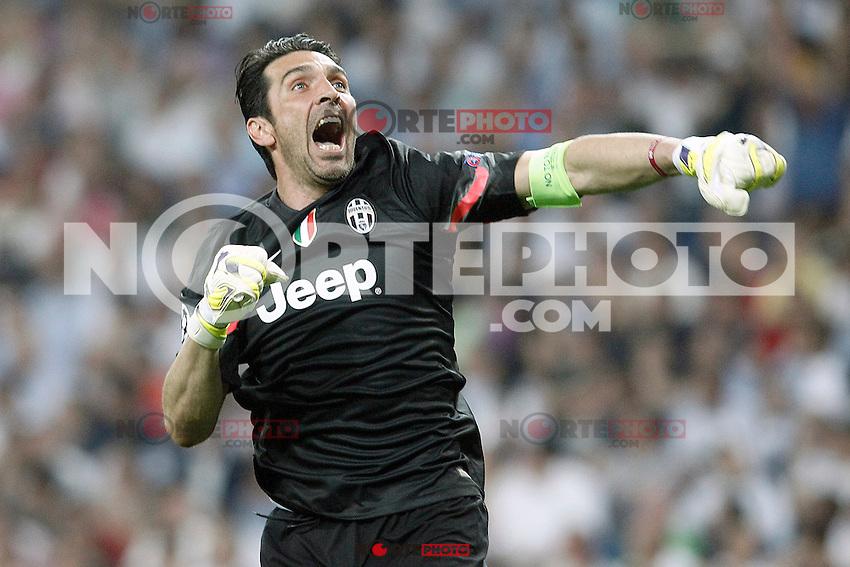 Juventus' Gianluigi Buffon celebrates goal during Champions League 2014/2015 Semi-finals 2nd leg match.May 13,2015. (ALTERPHOTOS/Acero) /NortePhoto.COM
