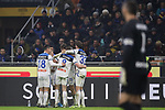 Robin Gosens of Atalanta celebrates with team mates after scoring to level the game at 1-1 during the Serie A match at Giuseppe Meazza, Milan. Picture date: 11th January 2020. Picture credit should read: Jonathan Moscrop/Sportimage