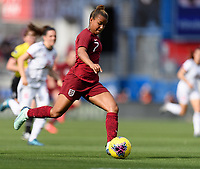 FRISCO, TX - MARCH 11: Nikita Parris #7 of England passes the ball during a game between England and Spain at Toyota Stadium on March 11, 2020 in Frisco, Texas.