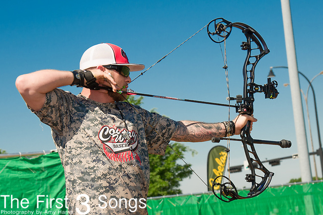 Brantley Gilbert attends the ACM & Cabela's Great Outdoor Archery Event during the 50th Academy Of Country Music Awards at the Texas Rangers Youth Ballpark on April 18, 2015 in Arlington, Texas.