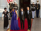 Akie Abe, first lady Michelle Obama, Prime Minister Shinzo Abe of Japan and United States President Barack Obama assemble for photographs before heading into a State Dinner at The White House in Washington DC, April 28, 2015. <br /> Credit: Chris Kleponis / CNP