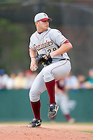 Tyler Everett (28) of the Florida State Seminoles in action versus the Wake Forest Demon Deacons at Gene Hooks Stadium on the campus of Wake Forest University in Winston-Salem, NC, Friday, March 28, 2008.