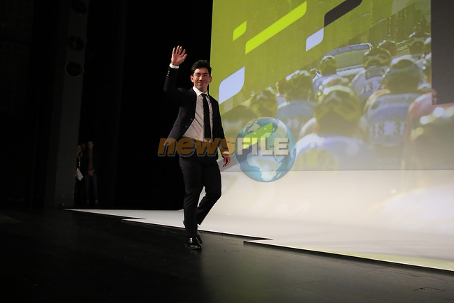 Caleb Ewan (AUS) introduced on stage at the Tour de France 2020 route presentation held in the Palais des Congrès de Paris (Porte Maillot), Paris, France. 15th October 2019.<br /> Picture: Eoin Clarke | Cyclefile<br /> <br /> All photos usage must carry mandatory copyright credit (© Cyclefile | Eoin Clarke)