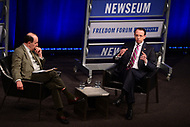 "Washington, DC - May 1, 2018:  U.S. Deputy Attorney General Rod Rosenstein participates in the ""Law Day Conversation"" about the First Amendment, rule of law and the mission of the Justice Department, at the Newseum in Washington, D.C. May 1, 2018. The event was moderated by Ronald Collins. (Photo by Don Baxter/Media Images International)"