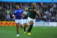 JP Pietersen of South Africa runs in an early try during Match 15 of the Rugby World Cup 2015 between South Africa and Samoa - 26/09/2015 - Villa Park, Birmingham<br /> Mandatory Credit: Rob Munro/Stewart Communications