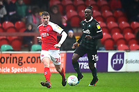 Fleetwood Town's Jack Sowerby competes with Plymouth Argyle's Freddie Ladapo<br /> <br /> Photographer Richard Martin-Roberts/CameraSport<br /> <br /> The EFL Sky Bet League One - Fleetwood Town v Plymouth Argyle - Saturday 16th March 2019 - Highbury Stadium - Fleetwood<br /> <br /> World Copyright © 2019 CameraSport. All rights reserved. 43 Linden Ave. Countesthorpe. Leicester. England. LE8 5PG - Tel: +44 (0) 116 277 4147 - admin@camerasport.com - www.camerasport.com