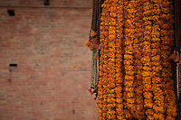 Flower strands at Shambhu Nath Hindu traditional Cremation Area, Kathmandu, Nepal