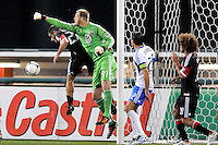 D.C. United goalkeeper Joe Willis (31) goes up to make a save. D.C. United tied The Montreal Impact 1-1, at RFK Stadium, Wednesday April 18 , 2012.