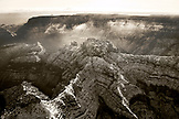 USA, Arizona, Page, aerial view of the North Rim of the Grand Canyon, Grand Canyon National Park (B&W)