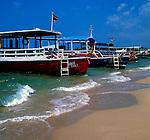 Fishing boats leisure boats at Pattaya beach,Thailand.
