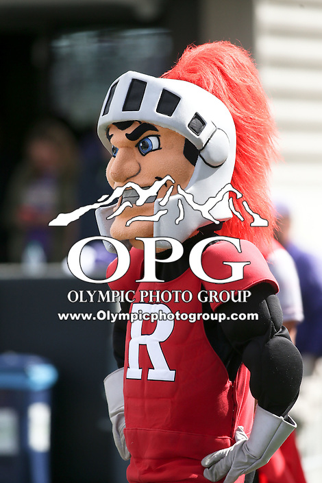 03 September 2016:  Rutgers mascot the Scarlet Knight against Washington.  Washington defeated Rutgers 48-13 at the University of Washington in Seattle, WA.