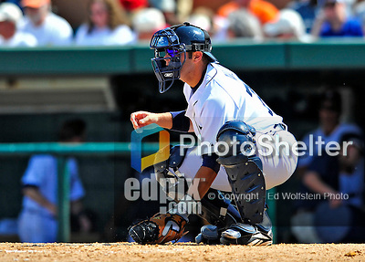 11 March 2009: Detroit Tigers' catcher Alex Avila warms up a pitcher during a Spring Training game against the New York Yankees at Joker Marchant Stadium in Lakeland, Florida. The Tigers defeated the Yankees 7-4 in the Grapefruit League matchup. Mandatory Photo Credit: Ed Wolfstein Photo