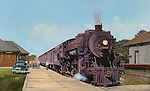 "Soo Line passenger train readying to leave the station at Stanley, Wisconsin, circa early 1950's. Oil on canvas, 19.5"" x 32""."