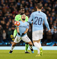 Manchester City's Sergio Aguero shields the ball from FC Schalke 04&rsquo;s Salif Sane<br /> <br /> Photographer Rich Linley/CameraSport<br /> <br /> UEFA Champions League Round of 16 Second Leg - Manchester City v FC Schalke 04 - Tuesday 12th March 2019 - The Etihad - Manchester<br />  <br /> World Copyright &copy; 2018 CameraSport. All rights reserved. 43 Linden Ave. Countesthorpe. Leicester. England. LE8 5PG - Tel: +44 (0) 116 277 4147 - admin@camerasport.com - www.camerasport.com
