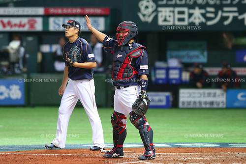 (L to R) .Masahiro Tanaka (JPN), .Shinnosuke Abe (JPN), .MARCH 6, 2013 - WBC : .2013 World Baseball Classic .1st Round Pool A .between Japan 3-6 Cuba .at Yafuoku Dome, Fukuoka, Japan. .(Photo by YUTAKA/AFLO SPORT) [1040]