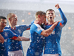 Martyn Waghorn scores from the penalty spot and celebrates with Andy Halliday