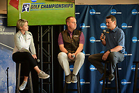 NWA Democrat-Gazette/ANDY SHUPE<br /> Richard Cromwell (from right), general manager at Blessings Golf Club, speaks Tuesday, April 9, 2019, alongside Brandt Packer, lead Golf Channel tournament producer, and Lisa Cornwell, former Fayetteville High School and Arkansas golfer and current Golf Channel anchor, during a press conference to announce the details of the NCAA Men's and Women's Golf Nation Championship at Blessings Golf Club in Johnson.