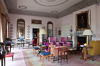 The drawing room at Glin Castle was conceived as a result of various extensions made to the building by John FitzGerald's nephew in the 1790s