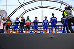 The all conquering Deceuninck-Quick Step team on stage at sign on before the 2019 Gent-Wevelgem in Flanders Fields running 252km from Deinze to Wevelgem, Belgium. 31st March 2019.<br /> Picture: Eoin Clarke | Cyclefile<br /> <br /> All photos usage must carry mandatory copyright credit (© Cyclefile | Eoin Clarke)