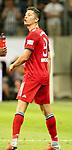 12.08.2018, Commerzbank - Arena, Frankfurt, GER, Supercup, Eintracht Frankfurt vs FC Bayern M&uuml;nchen , <br />DFL REGULATIONS PROHIBIT ANY USE OF PHOTOGRAPHS AS IMAGE SEQUENCES AND/OR QUASI-VIDEO.<br />im Bild<br />Robert Lewandowski (M&uuml;nchen) kann sich nach de, Schlag von David Abraham (Frankfurt) nicht beruhigen<br /> <br /> Foto &copy; nordphoto / Bratic