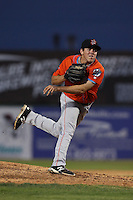 Greg Mahle #22 of the Inland Empire 66ers pitches during a playoff game against the Lancaster JetHawks at The Hanger on September 7, 2014 in Lancaster, California. Lancaster defeated Inland Empire, 5-2. (Larry Goren/Four Seam Images)