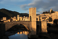 12th century Romanesque bridge over the Fluvia river, Besalu, Girona, Spain. Picture by Manuel Cohen