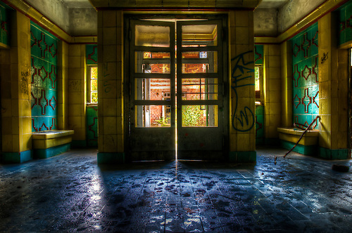 Entrance to an old hospital