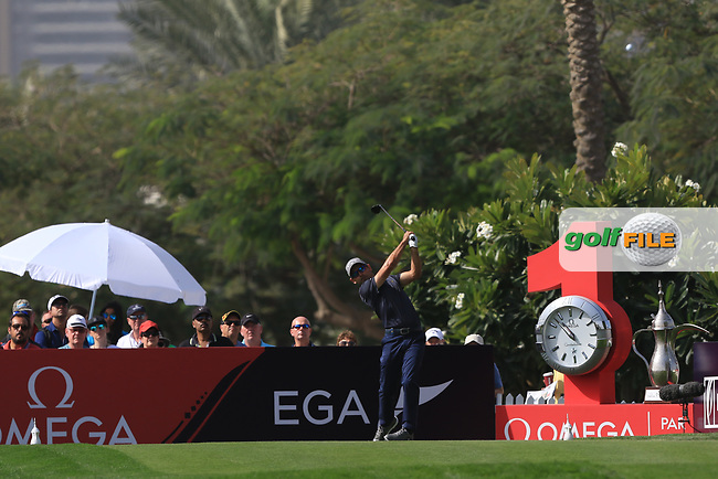 Fabrizio Zanotti (PAR) on the 1st tee during Round 4 of the Omega Dubai Desert Classic, Emirates Golf Club, Dubai,  United Arab Emirates. 27/01/2019<br /> Picture: Golffile | Thos Caffrey<br /> <br /> <br /> All photo usage must carry mandatory copyright credit (© Golffile | Thos Caffrey)