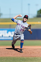 Scottsdale Scorpions relief pitcher Stephen Nogosek (29), of the New York Mets organization, delivers a pitch during an Arizona Fall League game against the Peoria Javelinas at Peoria Sports Complex on October 18, 2018 in Peoria, Arizona. Scottsdale defeated Peoria 8-0. (Zachary Lucy/Four Seam Images)