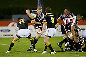 Andrew Van der Heijden cuts inside Shannon Paku as Alby Mathewson watches developments. Air New Zealand Cup rugby game between Counties Manukau Steelers & Wellington played at Mt Smart Stadium on the 31st August 2007. The Score was 13 all at halftime, with Wellington going on to win 33 - 18.