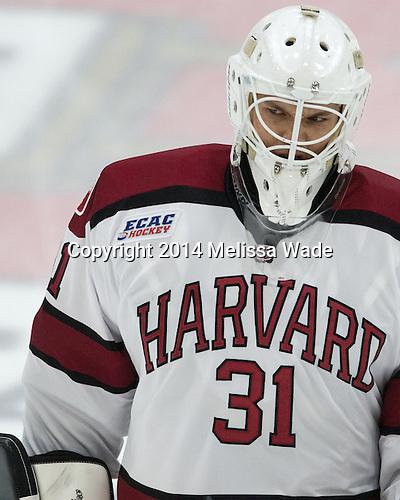 Merrick Madsen (Harvard - 31) - The Harvard University Crimson tied the visiting Dartmouth College Big Green 3-3 in both team's first game of the season on Saturday, November 1, 2014, at Bright-Landry Hockey Center in Cambridge, Massachusets.
