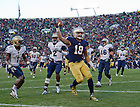 Nov. 2, 2013; Tight end Ben Koyack (18) celebrates a touchdown catch against Navy.<br /> <br /> Photo by Matt Cashore
