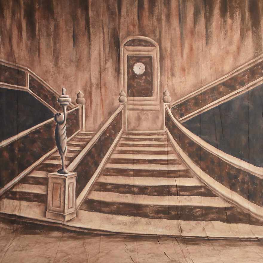 Backdrop featuring the formal stairs and balcony of the ship Titanic from the movie