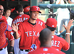 Yu Darvish (Rangers),<br /> JUNE 30, 2013 - MLB :<br /> Yu Darvish of the Texas Rangers high-fives teammates in the dugout after being pulled in the seventh inning during the Major League Baseball game against the Cincinnati Reds at Rangers Ballpark in Arlington in Arlington, Texas, United States. (Photo by AFLO)