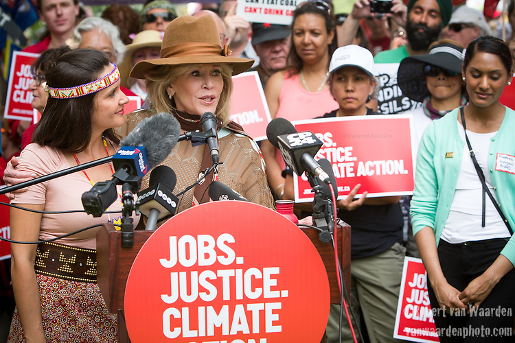 Jane Fonda speaks at the Press Conference before the Jobs, Justice and Climate march in Toronto. On July 5th more than 10,000 people gathered in Toronto, the traditional territories of the Missisauga peoples, for the March for Jobs, Justice and the Climate. The march told the story of a new economy that works for people and the planet. People marched for an economy that starts with justice, creates good work, clean jobs and healthy communities. The people recognize that we have solutions and we know who is responsible for causing the climate crisis. (Photo: Robert van Waarden)